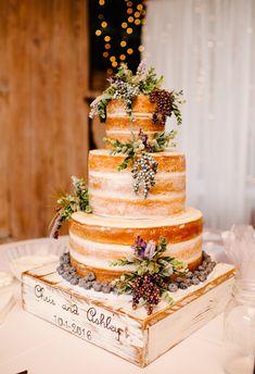 Naked cake, berries, rustic wooden box cake stand, wedding cake ideas // Thankfully Taken Photography