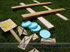 Luau games- tic-tac-toe- use extra wood and yogurt lids