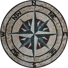 Star Compass Nautical Guide Path Round Marble Mosaic MD1918 #Unbranded