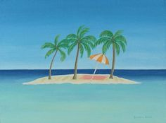 "Tropical beach and palm tree painting ""Time Out"". Original acrylic on canvas 12""x16"" $435.00 framed. Giclee prints also available. © Barbara Blair. See more of my art at BarbaraBlairArt.com"