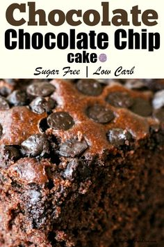 Delicious Sugar Free Chocolate Chunk Cocoa Cake Recipe that is easy to make and also tastes really good. Sugar free and gluten free options. Diabetic Chocolate Cake, Sugar Free Chocolate Cake, Sugar Free Deserts, Cocoa Cake, Sugar Free Treats, Sugar Free Cookies, Chocolate Chip Cake, Sugar Free Recipes, Cocoa Cookies