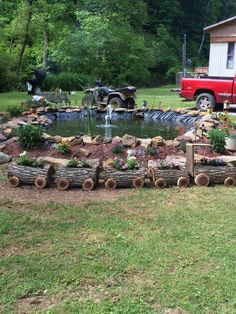 Tree log planter train for the garden!!! Cool!!