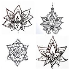 Temporary Tattoo Lucky Dip Seconds Black Geometric Lotus Henna Style Designs