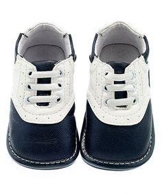 Another great find on #zulily! Navy & White Brogue Leather Sneaker by Jack & Lily #zulilyfinds