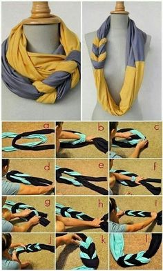 DIY: Braided scarf made from t-shirts