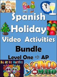 Spanish Holidays Around the World Video Activities Bundle