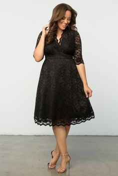 Our plus size Mademoiselle Dress is perfect for any formal or dressy occasion. Designed with scalloped stretch lace, this A-line dress is flattering on every silhouette. Available in other colors. Made exclusively for women's plus sizes. Made in the USA. Shop our entire collection of plus size lace dresses at www.kiyonna.com.