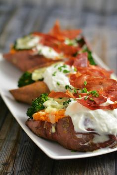 Broccoli Stuffed Baked Sweet Potatoes