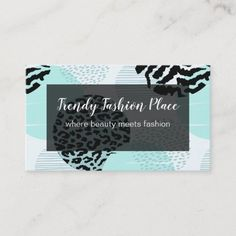 Trendy Beauty Fashion Boutique Business Card Trendy fashion boutique business cards in a modern animal pattern background and smart two side design so you can feature your business name or professional name on the front and your contact details in the back. Created for a fashion shop, beauty professional that does nails, hair, or creative arts. #Fashion