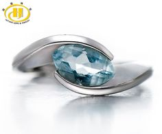 We love it and we know you also love it as well Hutang Natural Aquamarine Solid 925 Sterling Silver Ring Gemstone Wedding Fine Jewelry Women's Valentine's day Gift just only $31.99 with free shipping worldwide  #finejewelry Plese click on picture to see our special price for you