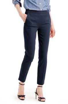 J.Crew 'Martie' Bi-Stretch Cotton Blend Pants (Regular & Petite) Size - Regular 4 Navy & Black if they have it