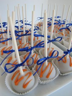 Cake Pop Idea for Bronco Party!   Black foisting and it's Raiders