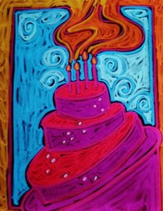 "January 5, Oil Pastel ""Happy Birthday Samantha!"" by Dottie D'Acquisto Graham"