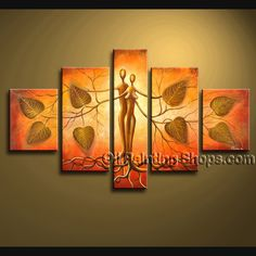 Huge Contemporary Wall Art Hand-Painted Art Paintings For Living Room Abstract. This 5 panels canvas wall art is hand painted by Bo Yi Art Studio, instock - $172. To see more, visit OilPaintingShops.com