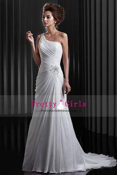 Pleated Bodice Sheath Chiffon One Shoulder Zipper Up Wedding Dresses With  Rhinestone PHP 8536.24 PGDPFJ517E8