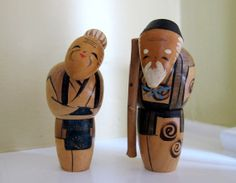 Pair of Japanese Kokeshi Dolls Elderly Couple by TheVintageBug