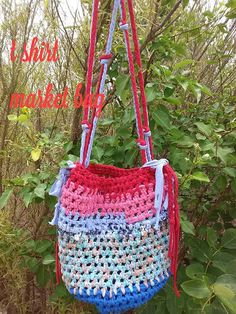 Market bag made from t shirt yarn by Passionatefindings on Etsy, $10.00