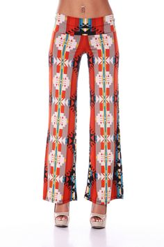 Wide- legged, multi prints, palazzo Pockets: None Waist details: Elastic Type of fly: None