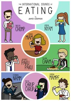 UK-based illustrator James Chapman creates funny posters and cartoons that show how common words and expressions sound in different languages around the world . Korean Language, Japanese Language, French Language, James Chapman, Cross Cultural Communication, Korean English, Funny Comic Strips, Different Languages, World Languages