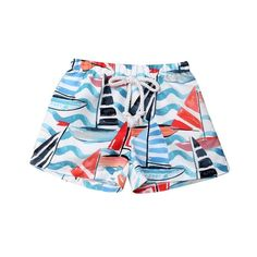 Mens Swim Trunks Quick Dry Summer Holiday Beach Shorts with Mesh Lining Cartoon Cat and Jellyfish Beachwear