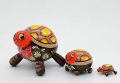 Tortoise Nesting doll stacking dolls matryoshka russian dolls set of 3 free shipping. $44.99, via Etsy.