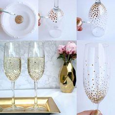 Resultado de imagem para lindas taças decoradas para casamento no pinterest