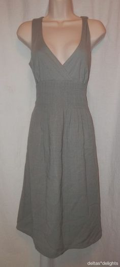 FEI DRESS 8 Solid Gray Sleeveless Crossover Vneck Tie Waist Pleats ANTHROPOLOGIE