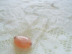 Strawberry Quartz pendant necklace Gemstone silver chain