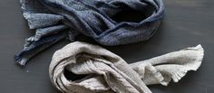 Japanese Cotton Towels - Lightweight cotton towels woven from extra-fine thread for household use. Intricate weave creates absorbency, softness and strength. Long, narrow dimensions (25 x 12 inches) based on traditional Japanese tenugui. Comes in Navy and Grey.