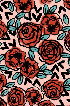 Hand illustrated red roses on a pink background by Andrea Lauren.  Available in fabric, wallpaper, and gift wrap.  Bold black hand drawn lines in a playful floral pattern.