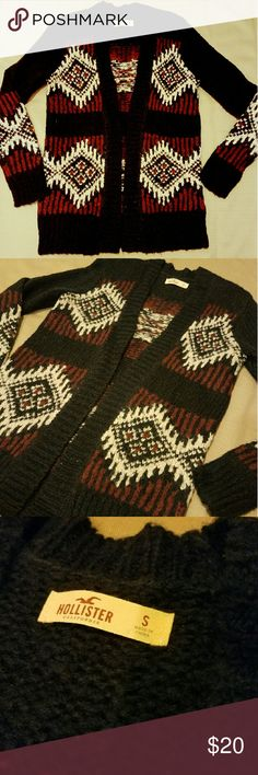 NWOT Small Hollister Open Cardigan Size small from Hollister. Never worn. Cute pattern throughout sweater. Open front Hollister Sweaters