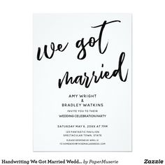 Eloped WE GOT MARRIED Elopement Romantic Chic Personalized Handwriting We Got Married Wedding Reception Invite Announcement Invitation Card Elope Wedding, Fall Wedding, Wedding Decor, Wedding Ideas, Wedding Invitation Text, Wedding Reception Invitations, We Get Married, Getting Married, Thank You Card Design