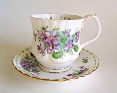 Tea Cup and Saucer Royal Albert Teacup Saucer Flower of the Month February Purple Violets by treasurecoveally on Etsy Silver Tea Set, All Things Purple, Tea Sets, Royal Albert, Vintage China, Tea Cup Saucer, Consideration, Tea Time, Dinnerware