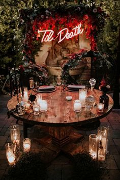 """Autumn Wedding Ideas Til Death wedding neon sign - Gone are the days of taking the """"Halloween Wedding"""" theme so literally! Check out these ideas for an elegant Halloween wedding we like to call """"spooky-chic. Wedding Table, Fall Wedding, Wedding Ceremony, Dream Wedding, Edgy Wedding, Rustic Wedding, Gothic Wedding Ideas, Wedding Backdrops, Ceremony Backdrop"""