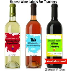 Honest Wine Labels for Teachers - Order and Print yours today!