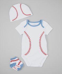 This Lovespun White & Red Baseball Bodysuit Set by Lovespun is perfect! #zulilyfinds