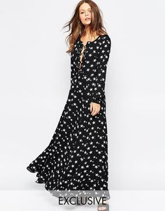 Glamorous Star Print Maxi Dress with Lace Up
