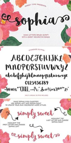 A beautiful hand-lettered brush script typeface. Created your own decorated font style using the Sophia Hand-Lettered Font. Cute Fonts, Pretty Fonts, Fancy Fonts, Calligraphy Fonts, Script Fonts, Typography Fonts, Caligraphy, Brush Lettering, Brush Script