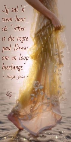 "Jy sal 'n stem hoor sê: ""Hier is die regte pad. Afrikaanse Quotes, Goeie More, Bible Love, Special Words, Daughter Quotes, New Journey, Strong Quotes, Bible Verses, Scriptures"