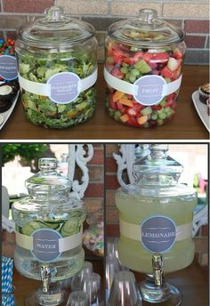 What a neat idea when you host a Summer Cookout party Ideas. love the labels and… What a neat idea when you host a Summer Cookout party Ideas. love the labels and the lids keep the flies and bugs out. Summer Bbq, Summer Parties, Snacks Für Party, Bbq Food Ideas Party, Party Drinks, Party Food Buffet, Parties Food, Cookout Party Foods, Summer Party Foods