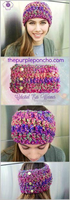 Celestial Ear Warmer – Free Crochet Pattern on The Purple Poncho #crochet #freecrochetpattern