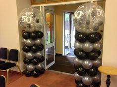 Entrance columns with 50th gumball balloons on top