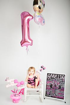 1st Birthday Studio Photos, Minnie Mouse Theme, One Year Old Photo Shoot