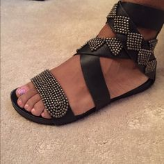 Diesel Sandals Authentic 100% leather Deisel sandals   Beautiful detailed beading  good condition, some minor scuffing,  size 37. Fits us 7  Retail $159 Diesel Shoes Sandals