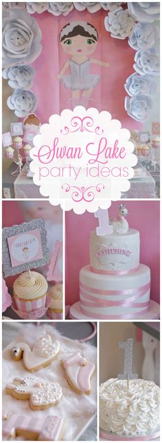 This first birthday has a lovely Swan Lake ballet theme! See more party ideas at CatchMyParty.com!