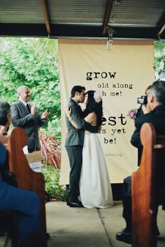 Great idea-banner to hang if using an outdoor site for the ceremony. @Samantha Wing (Didn't know if you were in a building or using a shelter at a park)