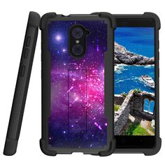 ZTE Imperial Max Case, Shockwave Armor Heavy Duty Kickstand Defender Case - Heavenly Stars