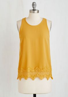 Photo Op-Ed Top - Yellow, Solid, Cutout, Lace, Casual, Sleeveless, Woven, Good, Scoop, Mid-length