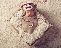 Crochet Pattern - Sock Monkey Hat - Crochet Hat Pattern - Crochet Patterns for Babies -  Includes 3 Sizes - Photo Prop Pattern - PDF 308