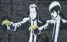 graffiti pulp fiction by banksy Banksy Graffiti, Street Art Banksy, Arte Banksy, Banksy Prints, Banksy Canvas, Bansky, Urban Graffiti, Berlin Graffiti, Banksy Artwork